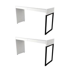 Kit 2 Mesas Para Computador Escrivaninha 2 Gavetas Desk Branco - Fit Mobel
