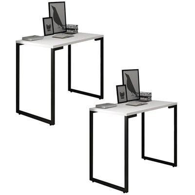 Kit 2 Mesas para Computador Escrivaninha 90cm Estilo Industrial New Port F02 Branco - Mpozenato
