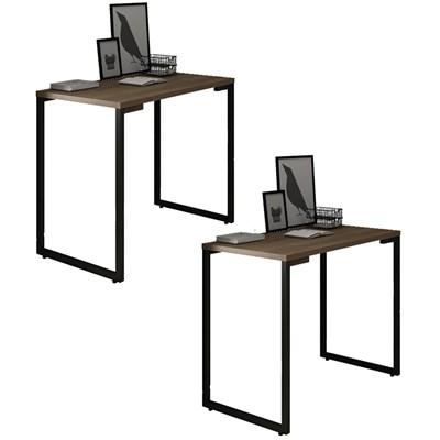 Kit 2 Mesas para Computador Escrivaninha 90cm Estilo Industrial New Port F02 Castanho - Mpozenato