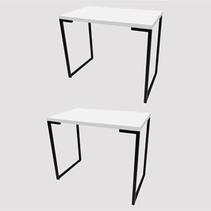 Kit 2 Mesas Para Computador Escrivaninha Porto 90cm Branco - Fit Mobel