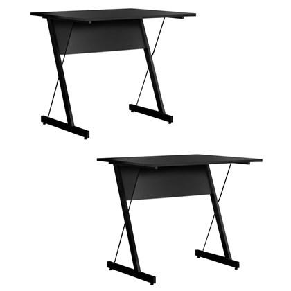 Kit 2 Mesas Para Computador Escrivaninha Zetta 90cm Pés Metálicos Preto - Fit Mobel
