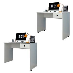 Kit 2 Mesas para Computador Notebook Escrivaninha 101cm Dubai Branco - Mpozenato