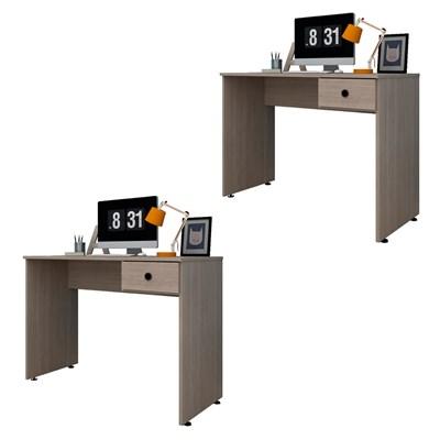 Kit 2 Mesas para Computador Notebook Escrivaninha 101cm Dubai L03 Carvalho Bruma - Mpozenato