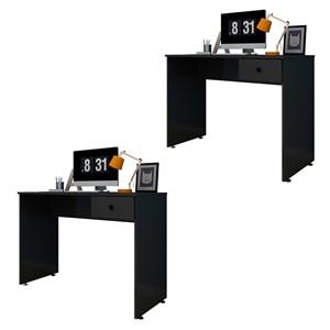 Kit 2 Mesas para Computador Notebook Escrivaninha 101cm Dubai Preto - Mpozenato