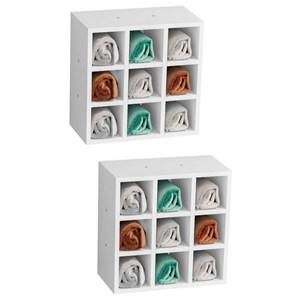 Kit 2 Nichos de Parede Porta Toalha para Salão 9 Divisões Branco - AJL Móveis