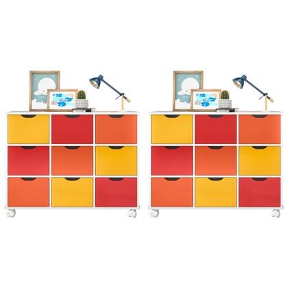 Kit 2 Nichos Organizadores 9 Gavetas com Rodízios Toys Branco/Colorido - Mpozenato