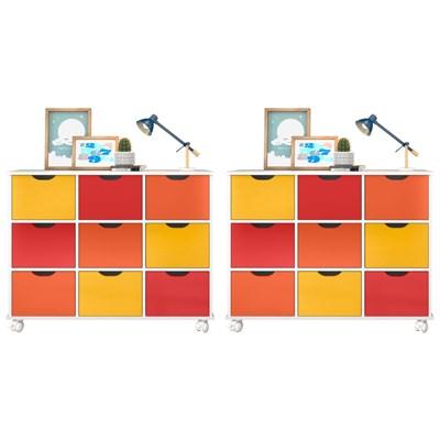 Kit 2 Nichos Organizadores 9 Gavetas com Rodízios Toys Q01 Branco/Colorido - Mpozenato