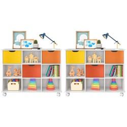 Kit 2 Nichos Organizadores com Rodízios Toys 3 Gavetas Branco/Colorido
