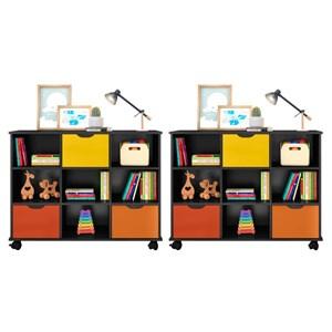Kit 2 Nichos Organizadores com Rodízios Toys 3 Gavetas Preto/Colorido - Mpozenato