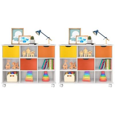 Kit 2 Nichos Organizadores com Rodízios Toys 3 Gavetas Q01 Branco/Colorido - Mpozenato