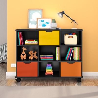 Kit 2 Nichos Organizadores com Rodízios Toys 3 Gavetas Q01 Preto/Colorido - Mpozenato