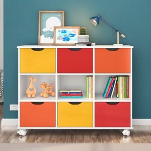 Kit 2 Nichos Organizadores com Rodízios Toys 6 Gavetas Branco/Colorido - Mpozenato