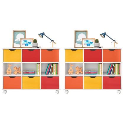 Kit 2 Nichos Organizadores com Rodízios Toys 6 Gavetas Q01 Branco/Colorido - Mpozenato