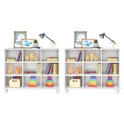 Kit 2 Nichos Organizadores Multifuncionais com Rodízios Toys Branco -