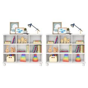 Kit 2 Nichos Organizadores Multifuncionais com Rodízios Toys Branco - Mpozenato