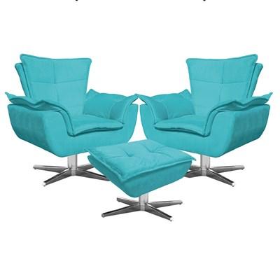 Kit 2 Poltronas Decorativas Base Giratória Cromada com Puff Opla Suede Azul Tiffany- Ibiza