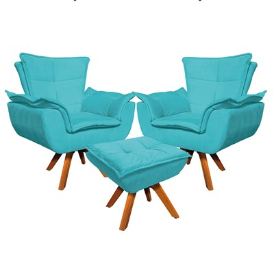Kit 2 Poltronas Decorativas Base Giratória Giromad com Puff Opla Suede Azul Tiffany- Ibiza