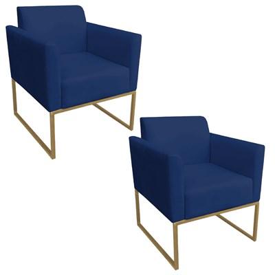Kit 2 Poltronas Decorativas Base Industrial Dourada Maressa S04 Suede Azul Marinho - Ibiza