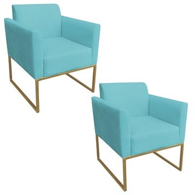Kit 2 Poltronas Decorativas Base Industrial Dourada Maressa S05 Suede Azul Tiffany - Ibiza