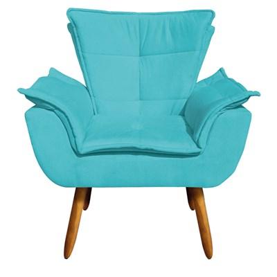 Kit 2 Poltronas Decorativas Pés Palito com Puff Opla Suede Azul Tiffany- Ibiza