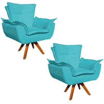 Kit 2 Poltronas Decorativas Sala de Estar Base Giratória Madeira Opla Suede Azul Tiffany- Ibiza