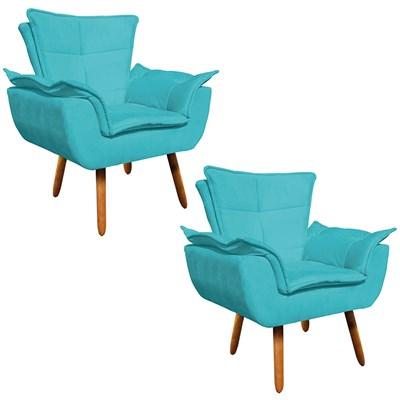 Kit 2 Poltronas Decorativas Sala de Estar Pés Palito Opla Suede Azul Tiffany- Ibiza