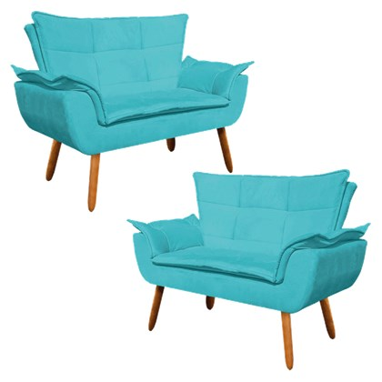 Kit 2 Poltronas Namoradeiras Pés Palito 2 Lugares Opla Suede Azul Tiffany- Ibiza