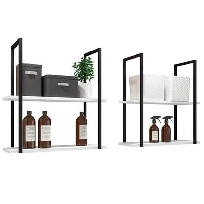 Kit 2 Prateleiras Decorativas Multiuso Estilo Industrial Loft D09 Branco - Mpozenato