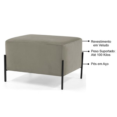 Kit 2 Puffs Decorativos 60cm Base Aço Status B-153 Veludo Marrom Claro - Domi