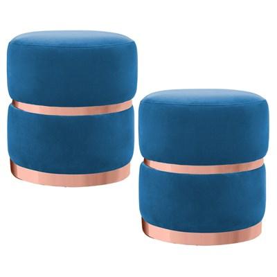 Kit 2 Puffs Decorativos Cinto e Aro Rosê Round B-170 Veludo Azul - Domi