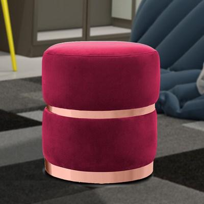 Kit 2 Puffs Decorativos Cinto e Aro Rosê Round B-173 Veludo Vermelho - Domi