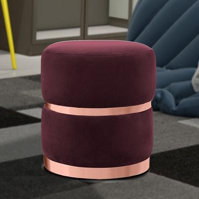 Kit 2 Puffs Decorativos Cinto e Aro Rosê Round B-278 Veludo Marsala - Domi