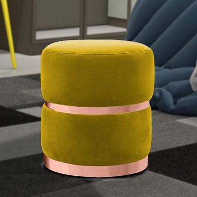 Kit 2 Puffs Decorativos Cinto e Aro Rosê Round B-279 Veludo Amarelo - Domi