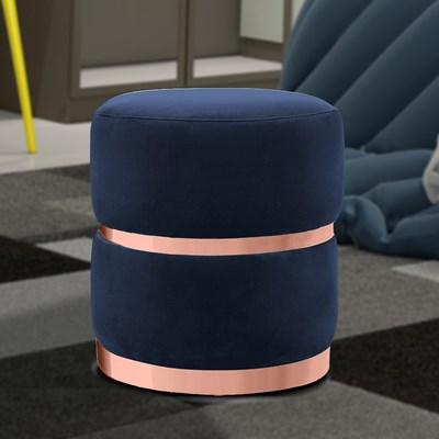Kit 2 Puffs Decorativos Cinto e Aro Rosê Round B-287 Veludo Marinho - Domi