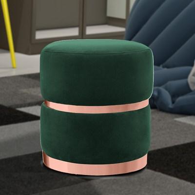 Kit 2 Puffs Decorativos Cinto e Aro Rosê Round B-303 Veludo Verde Musgo - Domi