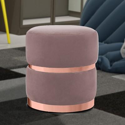 Kit 2 Puffs Decorativos Cinto e Aro Rosê Round B-305 Veludo Rosê - Domi