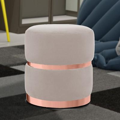 Kit 2 Puffs Decorativos Cinto e Aro Rosê Round B-309 Veludo Bege Claro - Domi