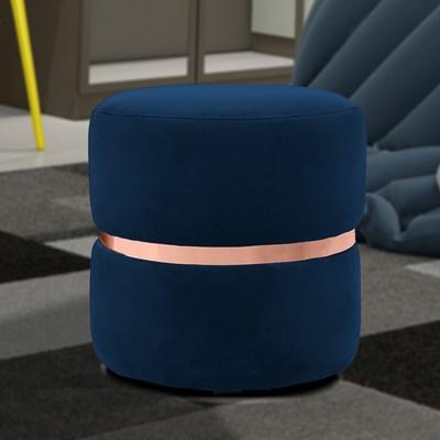 Kit 2 Puffs Decorativos Com Cinto Rosê Round B-304 Veludo Azul Marinho - Domi