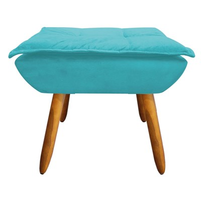 Kit 2 Puffs Decorativos Sala de Estar Pés Palito Opla Suede Azul Tiffany- Ibiza