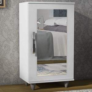 Kit 2 Sapateiras com Espelho 1 Porta Madri Branco - Lumil Móveis