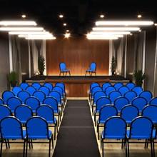 Kit 3 Cadeiras Hoteleira Auditório Hotel Empilhável Fixa Azul - Pethiflex