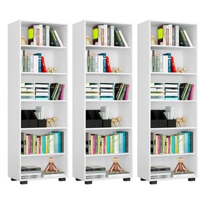Kit 3 Estantes Livreiro 6 Prateleiras Office Branco - Móveis Leão