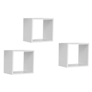 Kit 3 Nichos de Parede Quadrado AJL Branco - AJL Móveis