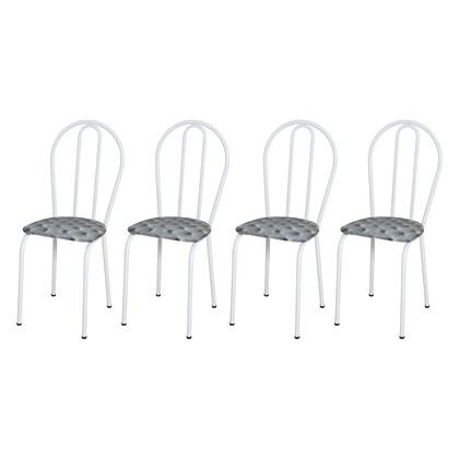 Kit 4 Cadeiras 004 Branco/Capitonê  - Artefamol