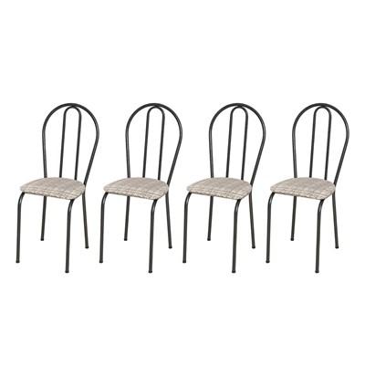 Kit 4 Cadeiras 004 Cromo Preto/Rattan - Artefamol