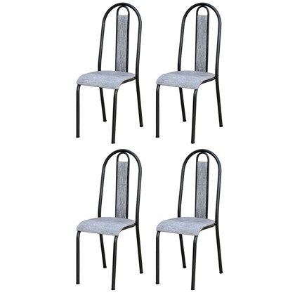 Kit 4 Cadeiras 058 América Cromo Preto/Grafiato - Artefamol