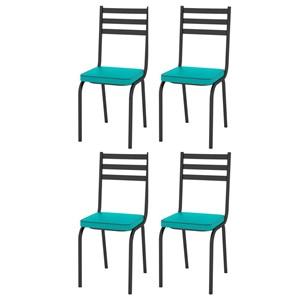 Kit 4 Cadeiras 118 Europa Preto/Azul Turquesa - Artefamol