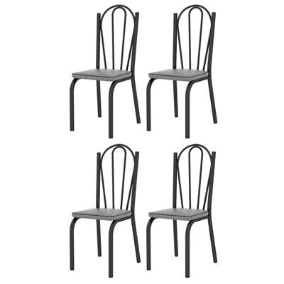Kit 4 Cadeiras 121 Europa Preto/Platina - Artefamol