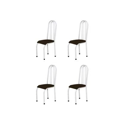 Kit 4 Cadeiras Altas 0.123 Anatômica Branco/Marrom Escuro - Marcheli
