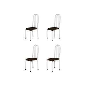Kit 4 Cadeiras Altas 0.123 Anatômica Branco/Tabaco - Marcheli